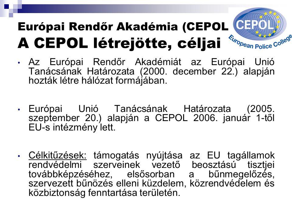 Európai Rendőr Akadémia (CEPOL) A CEPOL létrejötte, céljai Az Európai Rendőr Akadémiát az Európai Unió Tanácsának Határozata (2000.