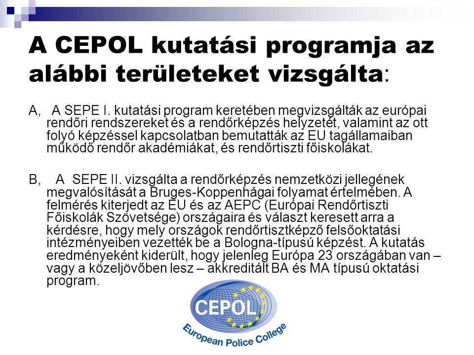 A CEPOL kutatási programja az alábbi területeket vizsgálta : A, A SEPE I.