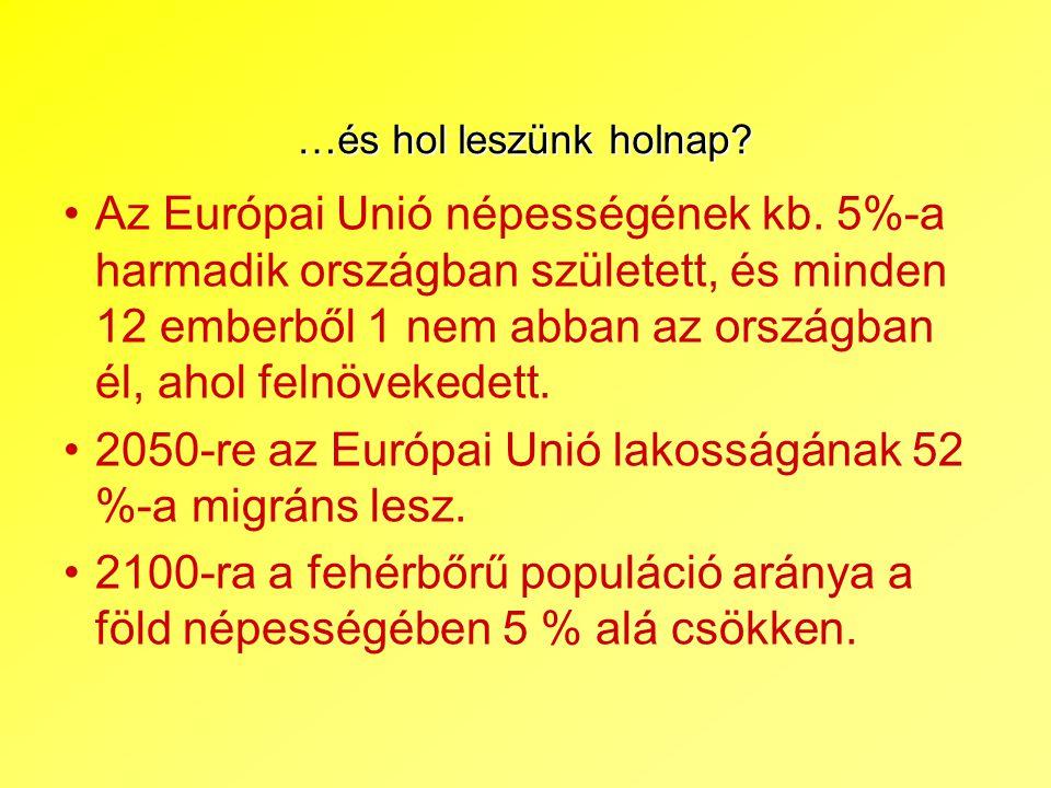 …és hol leszünk holnap? Az Európai Unió népességének kb. 5%-a harmadik országban született, és minden 12 emberből 1 nem abban az országban él, ahol fe