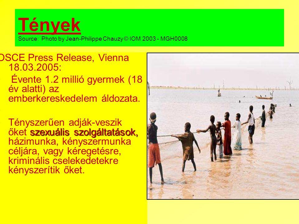 Tények Source: Photo by Jean-Philippe Chauzy © IOM 2003 - MGH0008 OSCE Press Release, Vienna 18.03.2005: Évente 1.2 millió gyermek (18 év alatti) az e