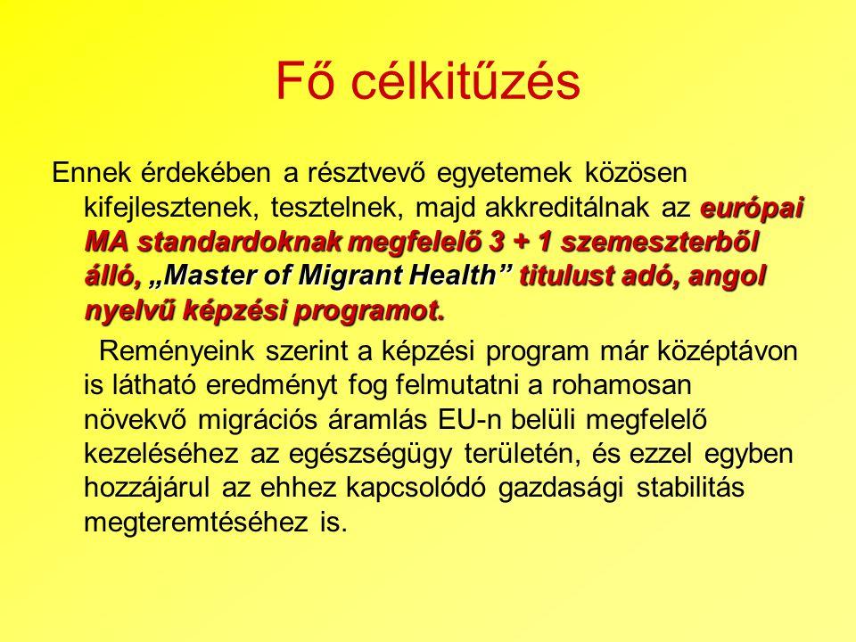 """Fő célkitűzés európai MA standardoknak megfelelő 3 + 1 szemeszterből álló, """"Master of Migrant Health"""" titulust adó, angol nyelvű képzési programot. En"""