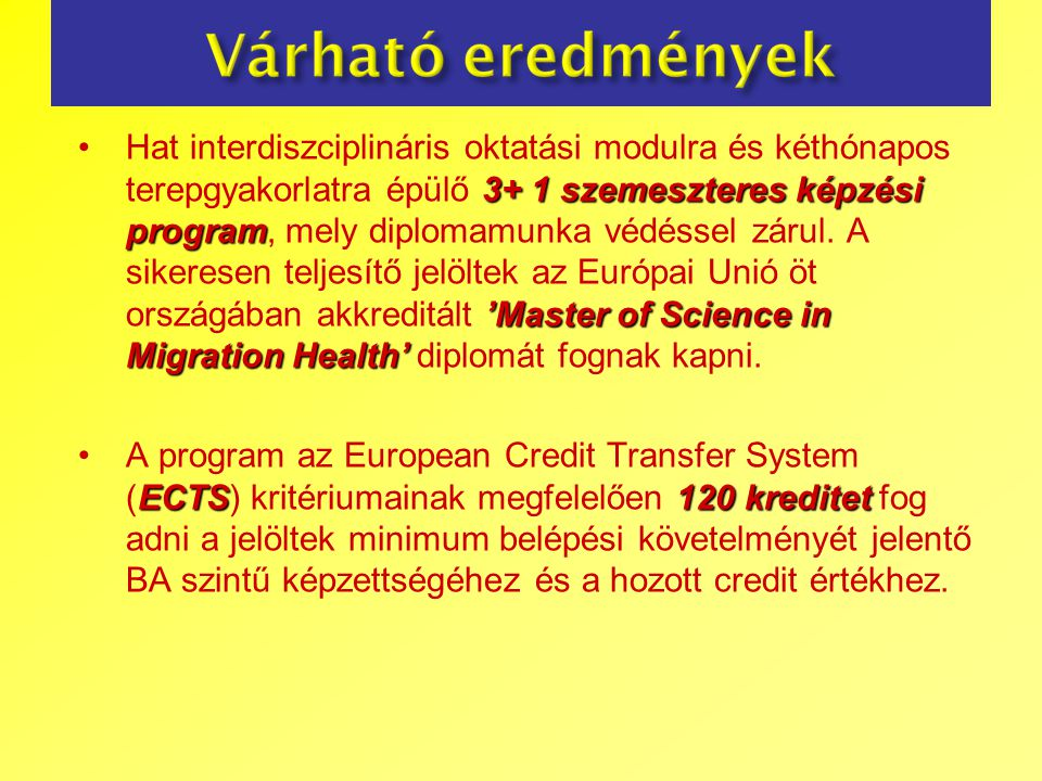 3+ 1 szemeszteres képzési program 'Master of Science in Migration Health'Hat interdiszciplináris oktatási modulra és kéthónapos terepgyakorlatra épülő