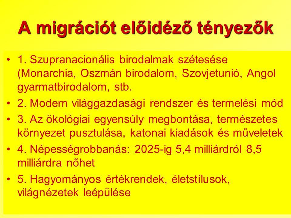 A migrációt előidéző tényezők 1. Szupranacionális birodalmak szétesése (Monarchia, Oszmán birodalom, Szovjetunió, Angol gyarmatbirodalom, stb. 2. Mode