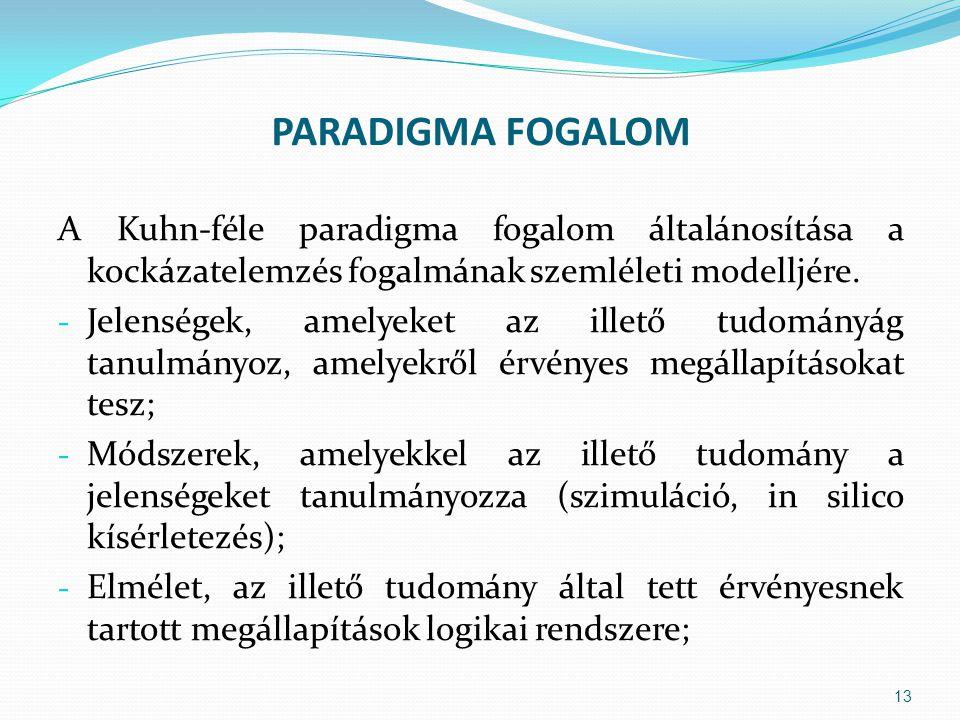 PARADIGMA FOGALOM A Kuhn-féle paradigma fogalom általánosítása a kockázatelemzés fogalmának szemléleti modelljére. - Jelenségek, amelyeket az illető t