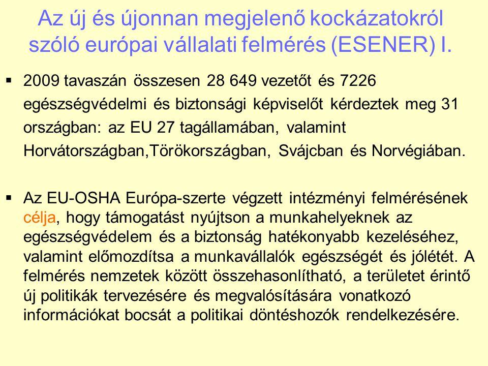 Az új és újonnan megjelenő kockázatokról szóló európai vállalati felmérés (ESENER) I.  2009 tavaszán összesen 28 649 vezetőt és 7226 egészségvédelmi