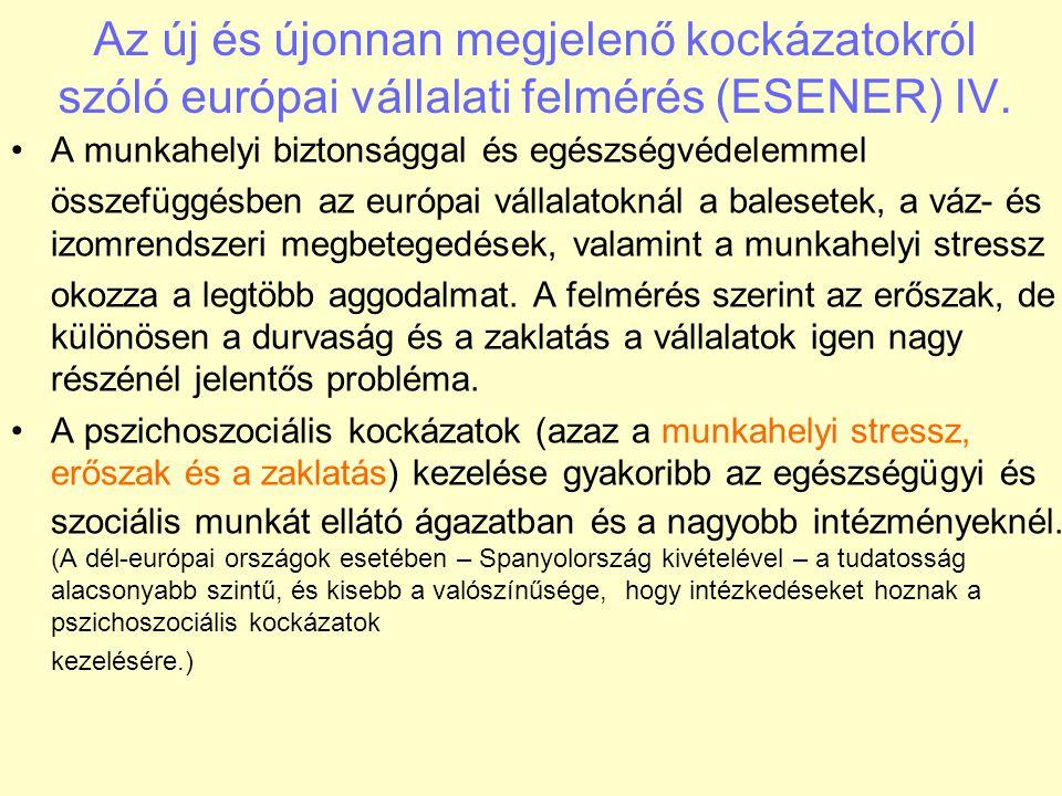 A munkahelyi biztonsággal és egészségvédelemmel összefüggésben az európai vállalatoknál a balesetek, a váz- és izomrendszeri megbetegedések, valamint