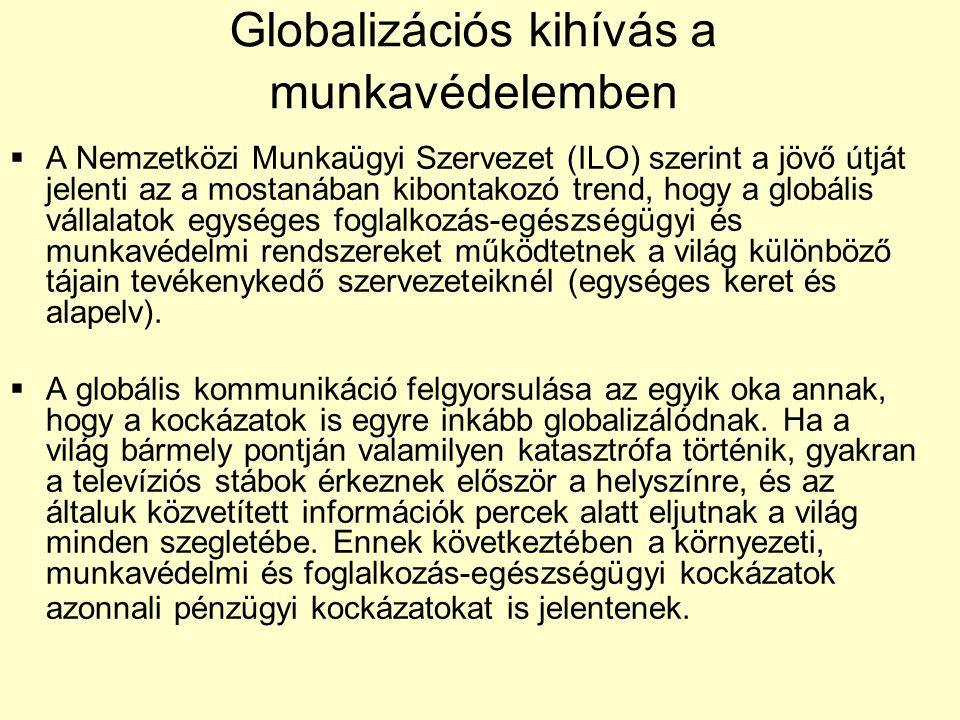 Globalizációs kihívás a munkavédelemben  A Nemzetközi Munkaügyi Szervezet (ILO) szerint a jövő útját jelenti az a mostanában kibontakozó trend, hogy