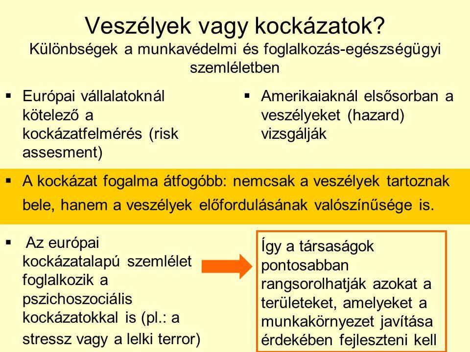 Veszélyek vagy kockázatok? Különbségek a munkavédelmi és foglalkozás-egészségügyi szemléletben  Európai vállalatoknál kötelező a kockázatfelmérés (ri