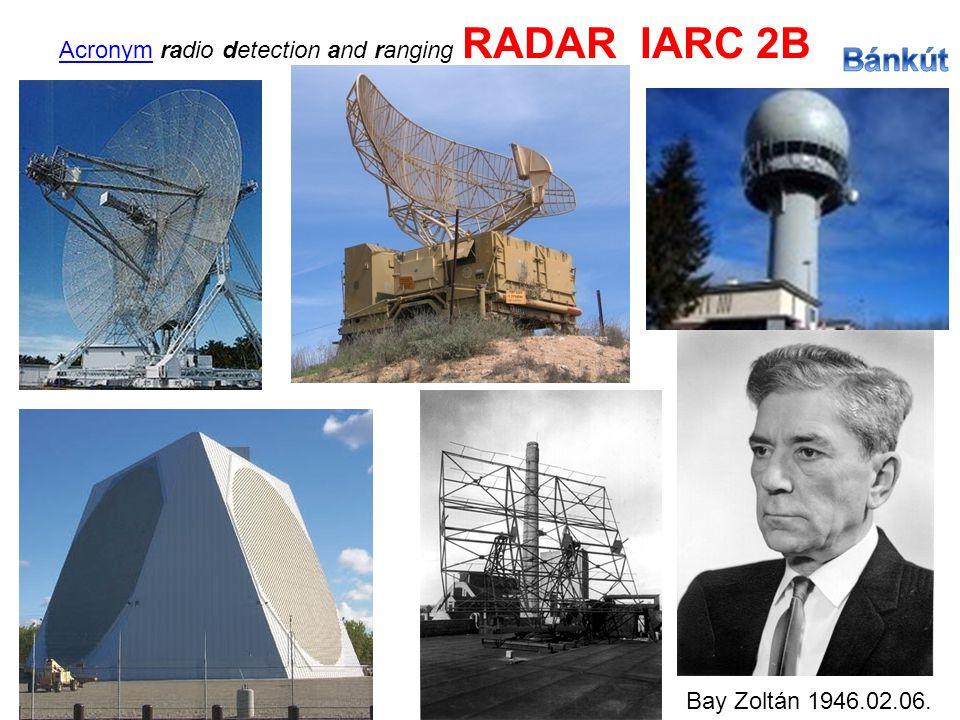 AcronymAcronym radio detection and ranging RADAR IARC 2B Bay Zoltán 1946.02.06.