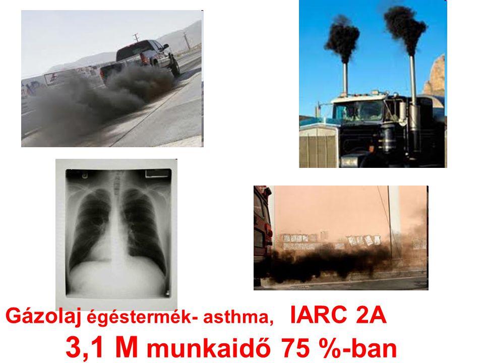 Gázolaj égéstermék- asthma, IARC 2A 3,1 M munkaidő 75 %-ban