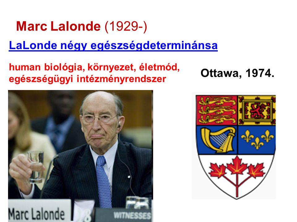 Marc Lalonde (1929-) LaLonde négy egészségdeterminánsa human biológia, környezet, életmód, egészségügyi intézményrendszer Ottawa, 1974.