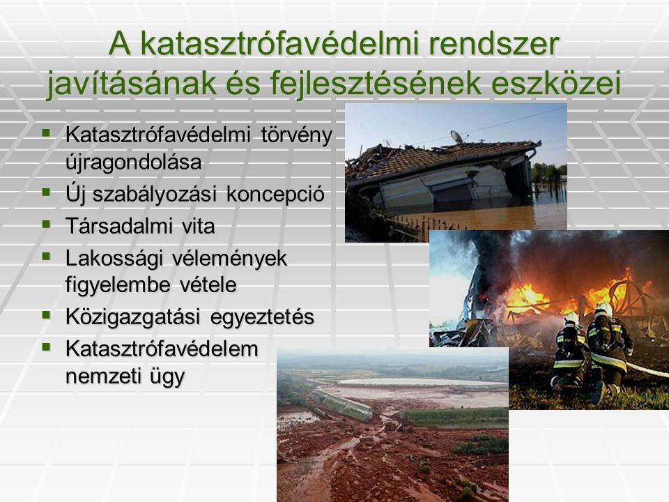 A veszélyes anyagokkal kapcsolatos súlyos balesetek elleni hatékonyabb védekezés kialakítása  a hatósági jogosítványok (engedélyezés, felügyelet, ellenőrzés) kiterjesztése  a kisebb súlyú jogsértéseket szankcionáló katasztrófavédelmi bírság bevezetése  a hatósági engedélyezési és ellenőrzési rendszer hatékonyabbá tétele  a katasztrófavédelmi szervek önálló ellenőrzési jogkörének megteremtése  az ipari üzemek biztonságos működésének ellenőrzésére iparbiztonsági hatósági eszköz- és intézményrendszer bevezetése