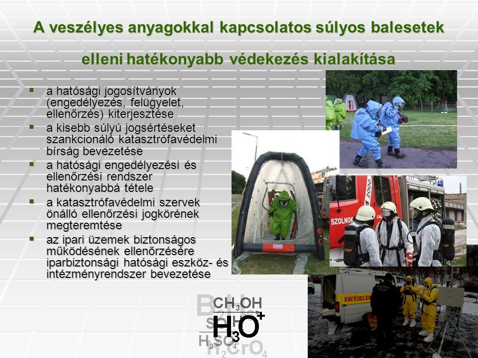 A veszélyes anyagokkal kapcsolatos súlyos balesetek elleni hatékonyabb védekezés kialakítása  a hatósági jogosítványok (engedélyezés, felügyelet, ell