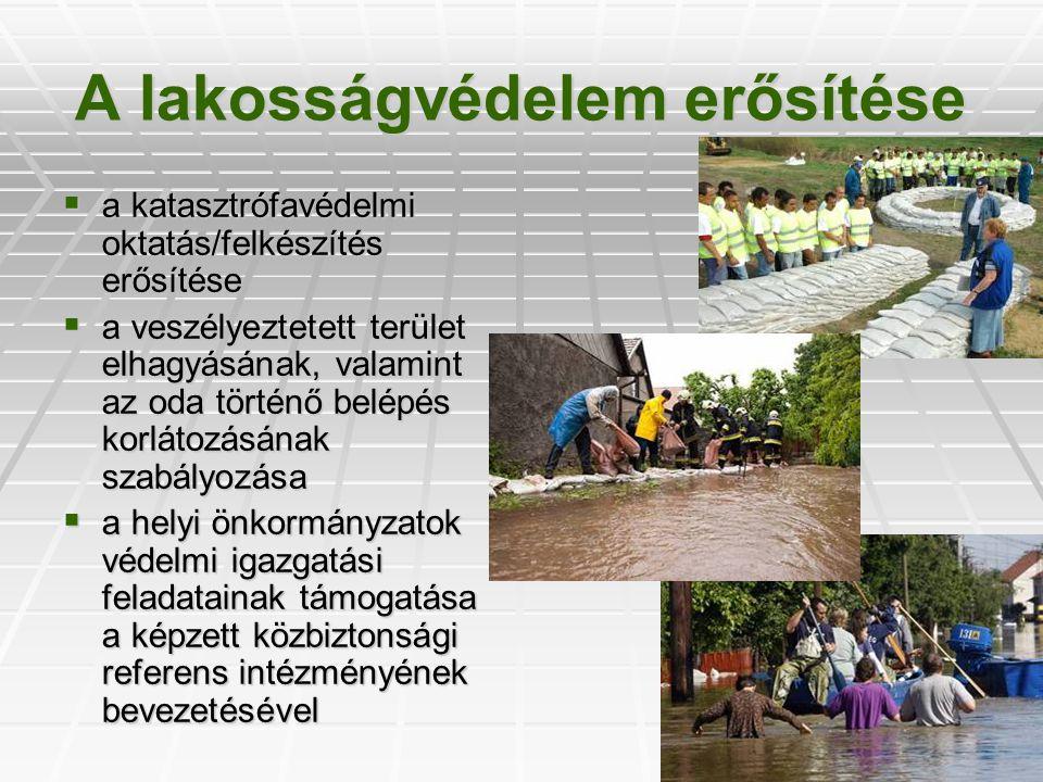 A lakosságvédelem erősítése  a katasztrófavédelmi oktatás/felkészítés erősítése  a veszélyeztetett terület elhagyásának, valamint az oda történő bel