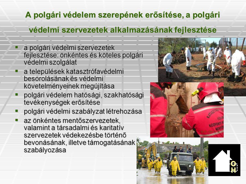 A katasztrófák elleni védekezés hatékonyabbá tételével és a finanszírozással összefüggő javaslatok  veszélyhelyzetre vonatkozó szabályok megújítása  a védekezés vezetésének megújítása a hivatásos elem szerepének erősítésével  katasztrófavédelmi célelőirányzat létrehozása  katasztrófavédelmi hozzájárulás bevezetése