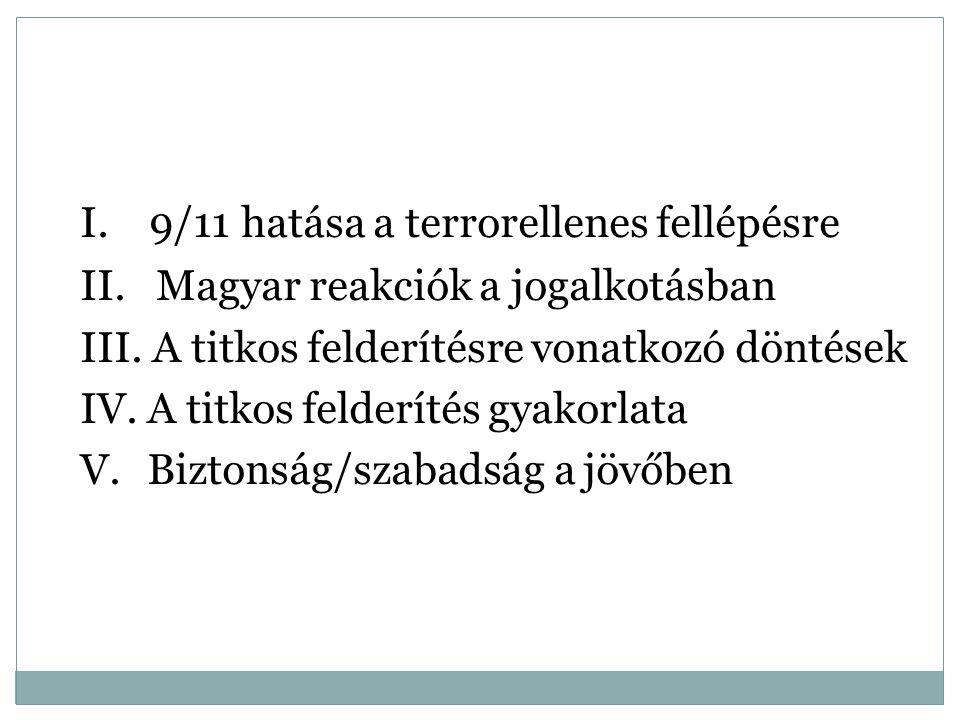 I. 9/11 hatása a terrorellenes fellépésre II. Magyar reakciók a jogalkotásban III. A titkos felderítésre vonatkozó döntések IV. A titkos felderítés gy