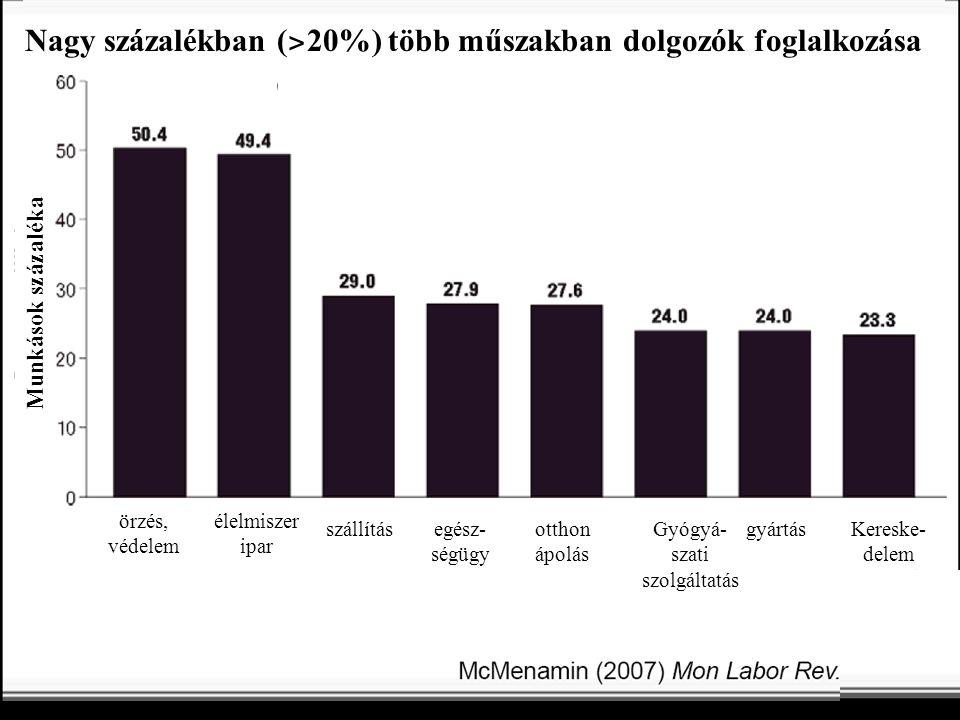 Nagy százalékban ( ˃ 20%) több műszakban dolgozók foglalkozása Munkások százaléka élelmiszer ipar örzés, védelem szállításotthon ápolás egész- ségügy