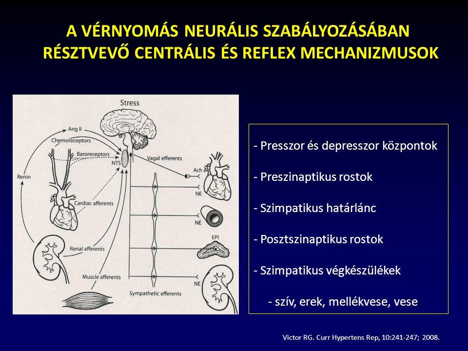 A RILMENIDIN SZIGNIFIKÁNSAN CSÖKKENTETTE AZ ELHÍZOTT HYPERTÓNIÁSOK VÉRNYOMÁSÁT A systolés átlagvérnyomás változásaA diastolés átlagvérnyomás változása Obez, hypertoniások: n=47 Rilmenidin: 1-2 mg/nap Simonyi G.