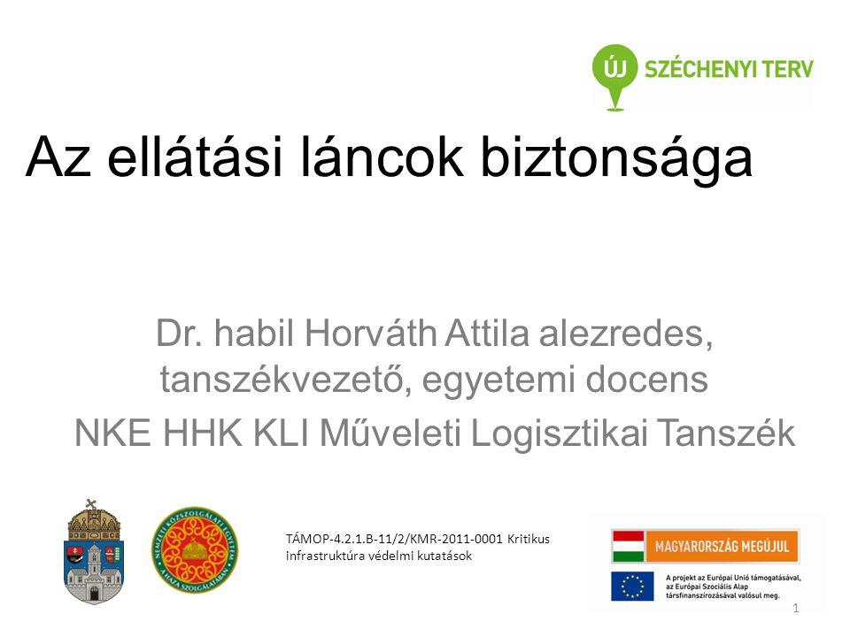 Az ellátási láncok biztonsága Dr. habil Horváth Attila alezredes, tanszékvezető, egyetemi docens NKE HHK KLI Műveleti Logisztikai Tanszék TÁMOP-4.2.1.