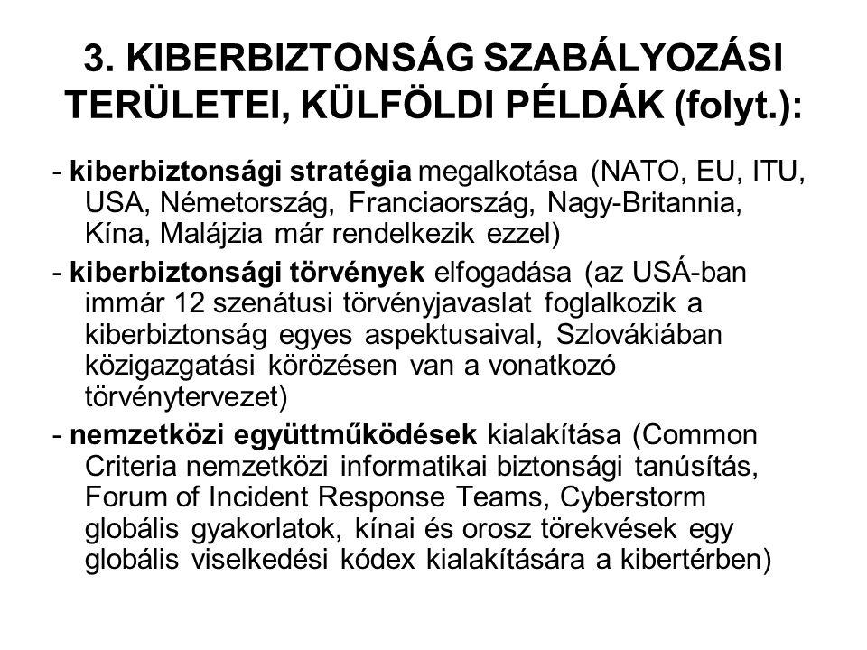 3. KIBERBIZTONSÁG SZABÁLYOZÁSI TERÜLETEI, KÜLFÖLDI PÉLDÁK (folyt.): - kiberbiztonsági stratégia megalkotása (NATO, EU, ITU, USA, Németország, Franciao