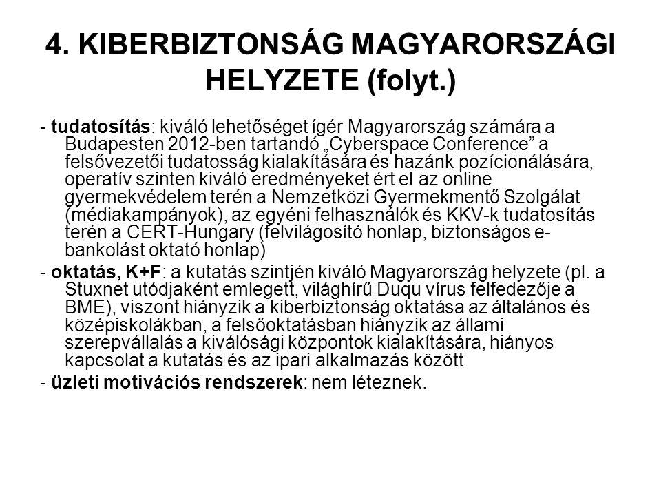 """4. KIBERBIZTONSÁG MAGYARORSZÁGI HELYZETE (folyt.) - tudatosítás: kiváló lehetőséget ígér Magyarország számára a Budapesten 2012-ben tartandó """"Cyberspa"""