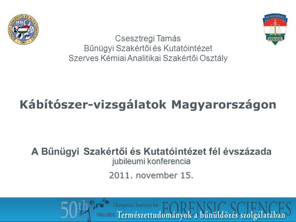 1 Kábítószer-vizsgálatok Magyarországon A jubileumi konferencia A Bűnügyi Szakértői és Kutatóintézet fél évszázada jubileumi konferencia 2011. novembe