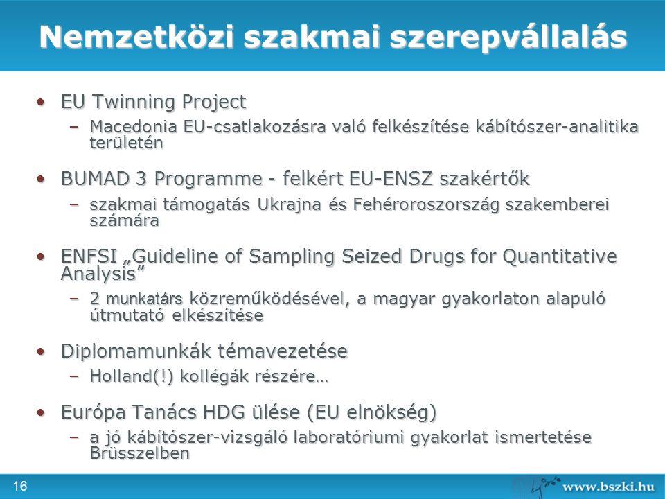 16 Nemzetközi szakmai szerepvállalás EU Twinning ProjectEU Twinning Project –Macedonia EU-csatlakozásra való felkészítése kábítószer-analitika terület