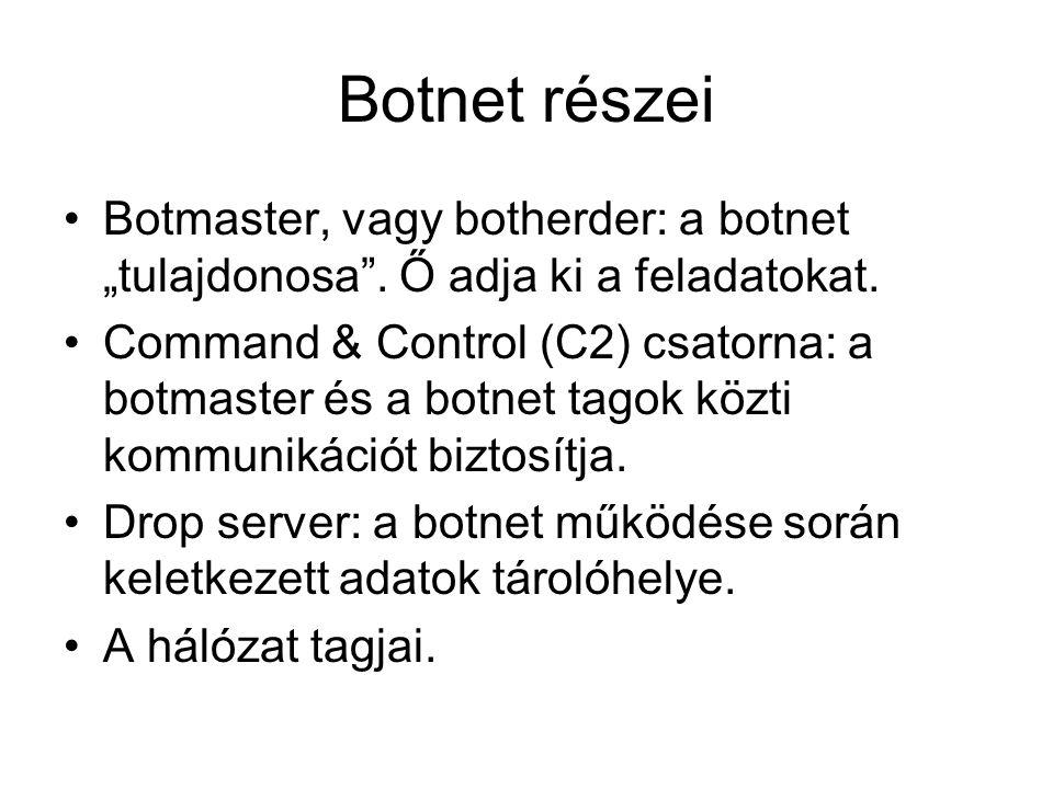 """Botnet részei Botmaster, vagy botherder: a botnet """"tulajdonosa ."""