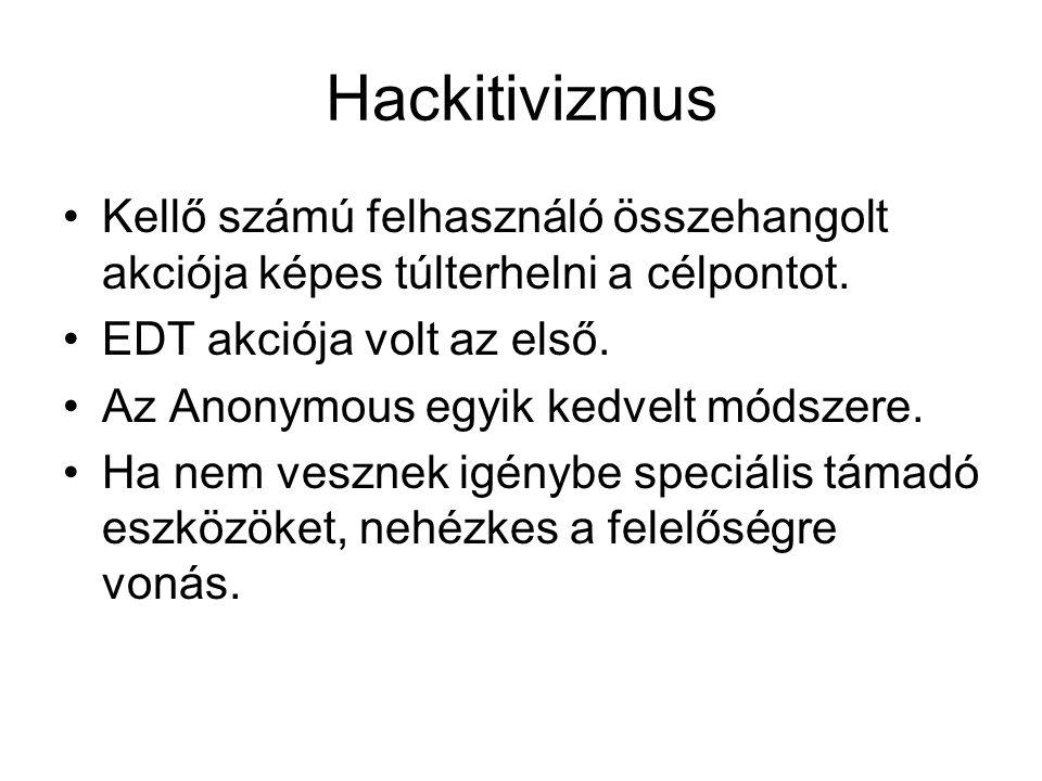 Hackitivizmus Kellő számú felhasználó összehangolt akciója képes túlterhelni a célpontot.