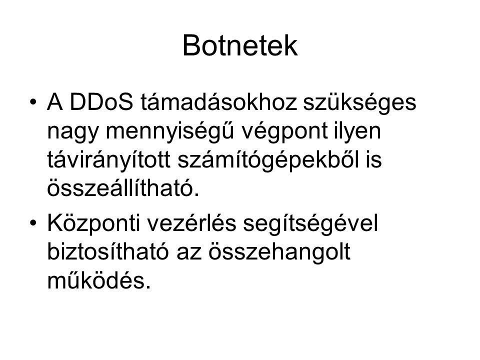 Botnetek A DDoS támadásokhoz szükséges nagy mennyiségű végpont ilyen távirányított számítógépekből is összeállítható.