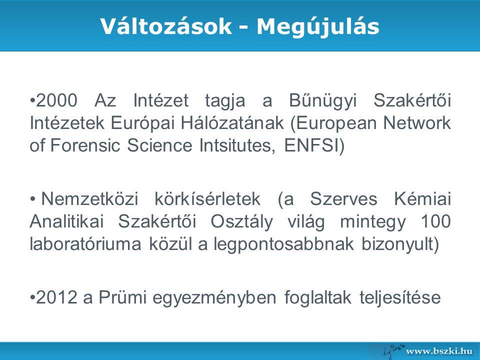 Változások - Megújulás 2000 Az Intézet tagja a Bűnügyi Szakértői Intézetek Európai Hálózatának (European Network of Forensic Science Intsitutes, ENFSI