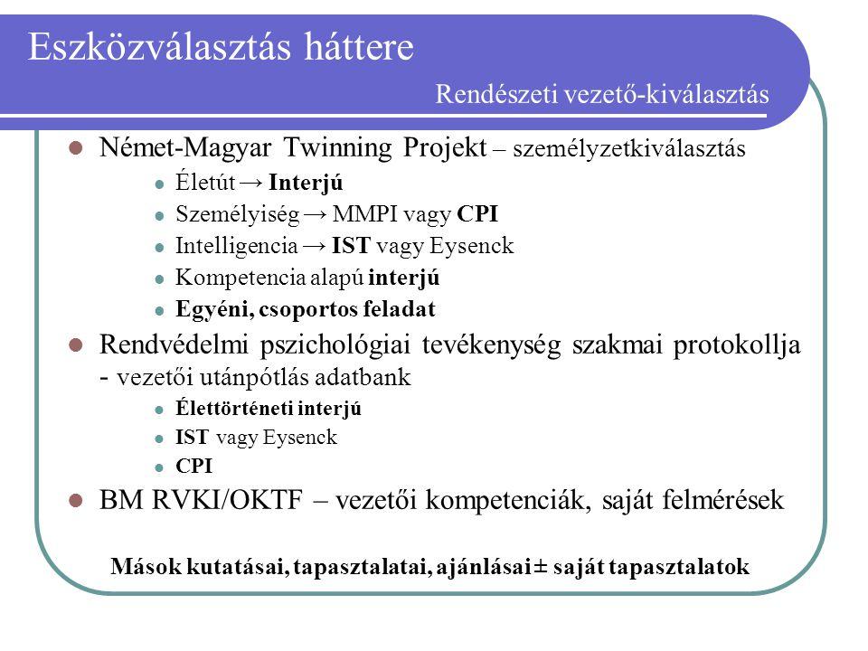 Eszközválasztás háttere Rendészeti vezető-kiválasztás Német-Magyar Twinning Projekt – személyzetkiválasztás Életút → Interjú Személyiség → MMPI vagy C