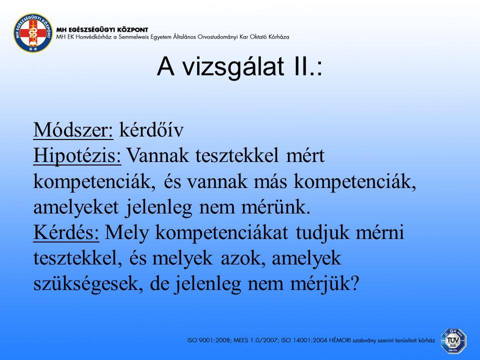 A vizsgálat II.: Módszer: kérdőív Hipotézis: Vannak tesztekkel mért kompetenciák, és vannak más kompetenciák, amelyeket jelenleg nem mérünk. Kérdés: M