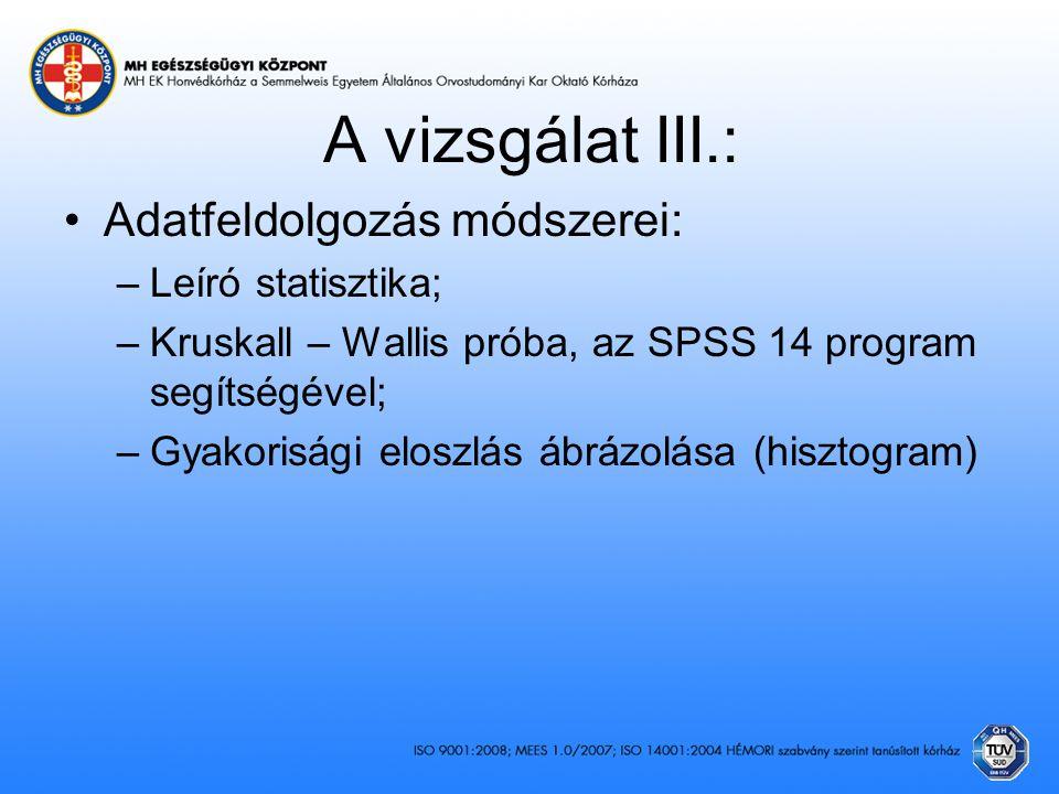 A vizsgálat III.: Adatfeldolgozás módszerei: –Leíró statisztika; –Kruskall – Wallis próba, az SPSS 14 program segítségével; –Gyakorisági eloszlás ábrá