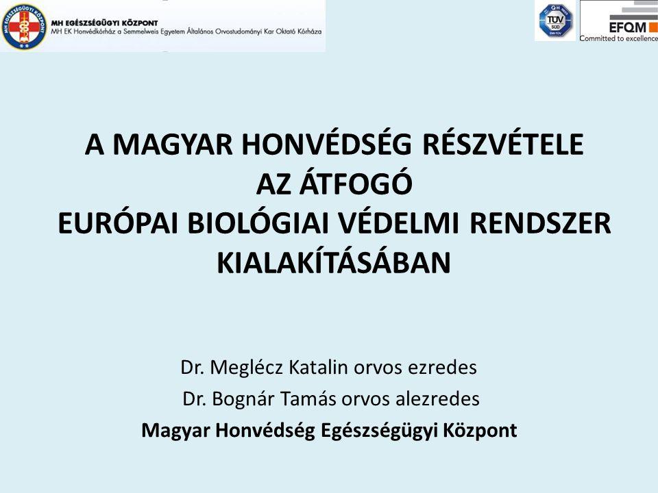 A MAGYAR HONVÉDSÉG RÉSZVÉTELE AZ ÁTFOGÓ EURÓPAI BIOLÓGIAI VÉDELMI RENDSZER KIALAKÍTÁSÁBAN Dr. Meglécz Katalin orvos ezredes Dr. Bognár Tamás orvos ale