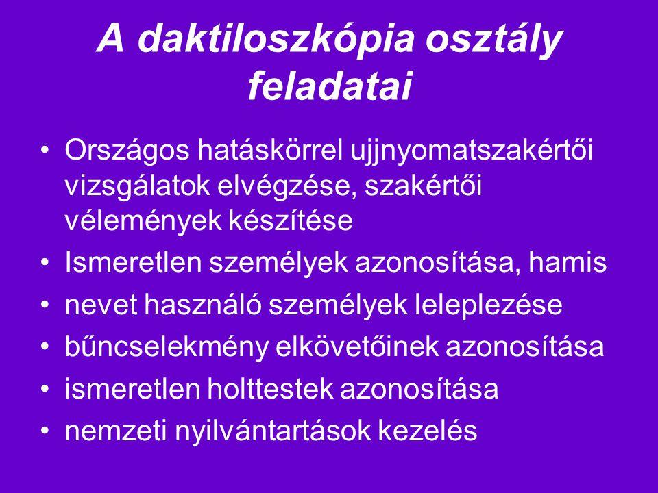 A daktiloszkópia osztály feladatai Országos hatáskörrel ujjnyomatszakértői vizsgálatok elvégzése, szakértői vélemények készítése Ismeretlen személyek