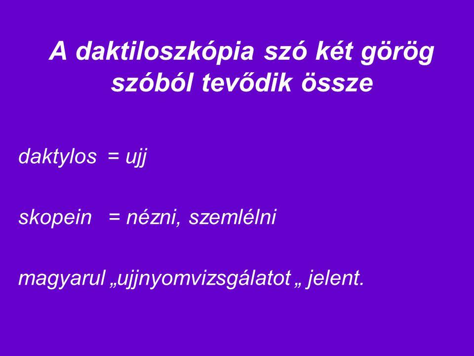 """A daktiloszkópia szó két görög szóból tevődik össze daktylos = ujj skopein = nézni, szemlélni magyarul """"ujjnyomvizsgálatot """" jelent."""
