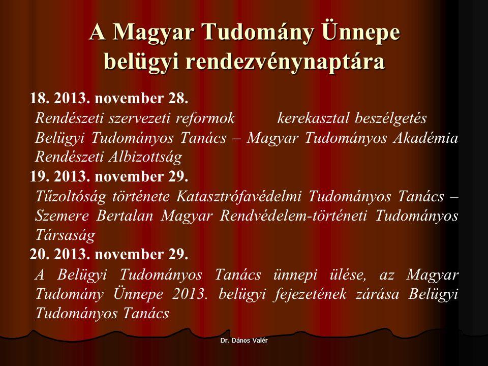 A Magyar Tudomány Ünnepe belügyi rendezvénynaptára 18.