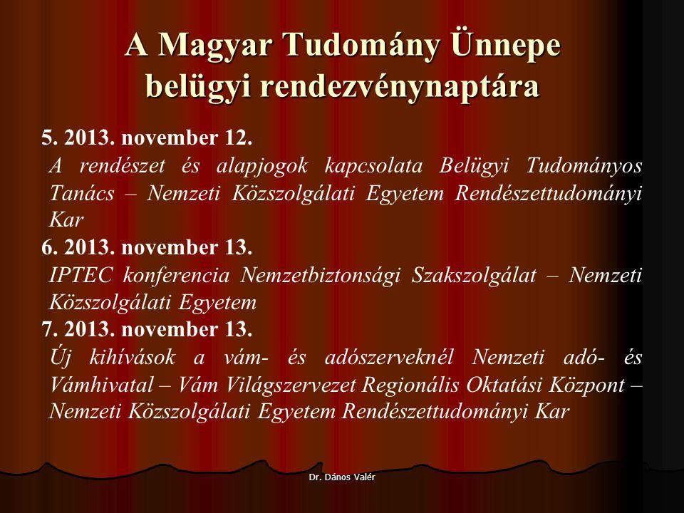 A Magyar Tudomány Ünnepe belügyi rendezvénynaptára 5.