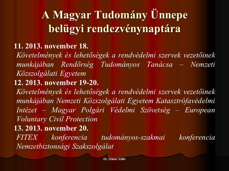 A Magyar Tudomány Ünnepe belügyi rendezvénynaptára 11.