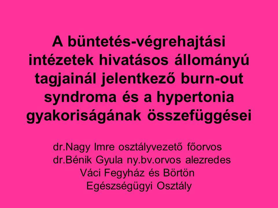 A büntetés-végrehajtási intézetek hivatásos állományú tagjainál jelentkező burn-out syndroma és a hypertonia gyakoriságának összefüggései dr.Nagy Imre