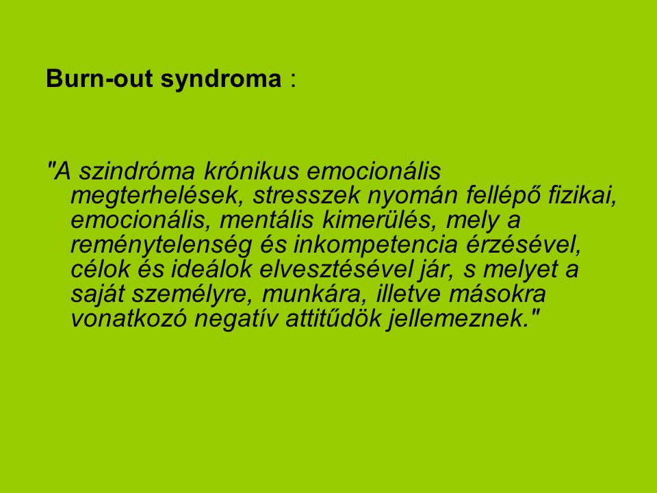 Burn-out syndroma :