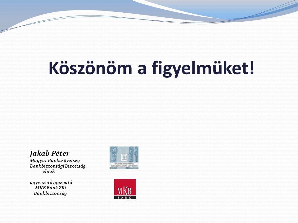 Köszönöm a figyelmüket! Jakab Péter Magyar Bankszövetség Bankbiztonsági Bizottság elnök ügyvezető igazgató MKB Bank ZRt. Bankbiztonság