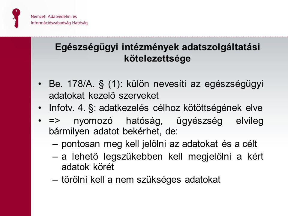 Egészségügyi intézmények adatszolgáltatási kötelezettsége Be.
