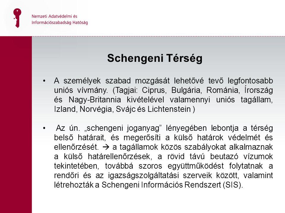 Schengeni Térség A személyek szabad mozgását lehetővé tevő legfontosabb uniós vívmány.