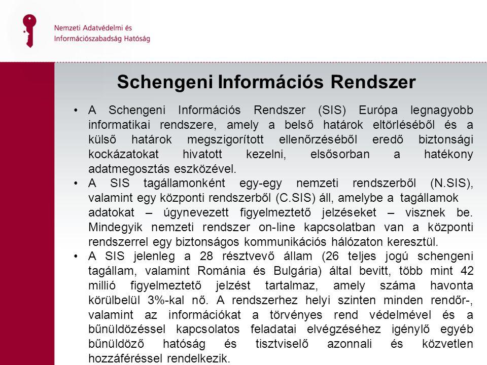 Schengeni Információs Rendszer A Schengeni Információs Rendszer (SIS) Európa legnagyobb informatikai rendszere, amely a belső határok eltörléséből és a külső határok megszigorított ellenőrzéséből eredő biztonsági kockázatokat hivatott kezelni, elsősorban a hatékony adatmegosztás eszközével.