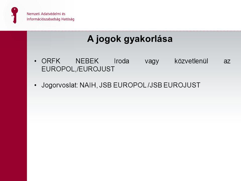 A jogok gyakorlása ORFK NEBEK Iroda vagy közvetlenül az EUROPOL,/EUROJUST Jogorvoslat: NAIH, JSB EUROPOL /JSB EUROJUST