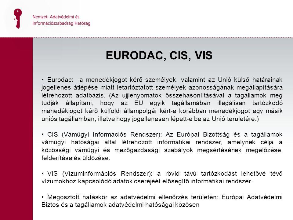 EURODAC, CIS, VIS Eurodac: a menedékjogot kérő személyek, valamint az Unió külső határainak jogellenes átlépése miatt letartóztatott személyek azonosságának megállapítására létrehozott adatbázis.