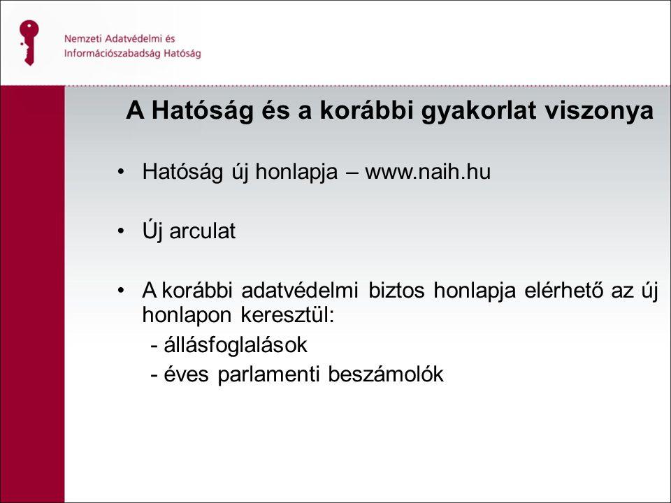 A Hatóság és a korábbi gyakorlat viszonya Hatóság új honlapja – www.naih.hu Új arculat A korábbi adatvédelmi biztos honlapja elérhető az új honlapon keresztül: - állásfoglalások - éves parlamenti beszámolók