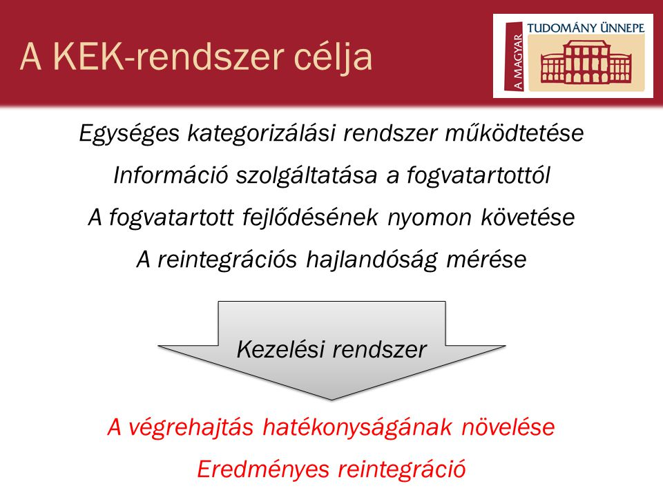 A KEK-rendszer célja Egységes kategorizálási rendszer működtetése Információ szolgáltatása a fogvatartottól A fogvatartott fejlődésének nyomon követése A reintegrációs hajlandóság mérése A végrehajtás hatékonyságának növelése Eredményes reintegráció Kezelési rendszer